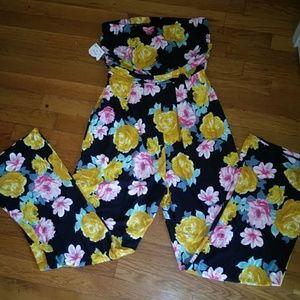 Tube jumpsuit floral